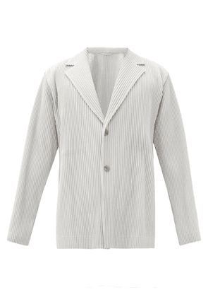 Homme Plissé Issey Miyake - Single-breasted Pleated-jersey Jacket - Mens - Light Grey