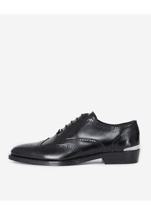 The Kooples - Black leather Oxfords with silver detail  - MEN