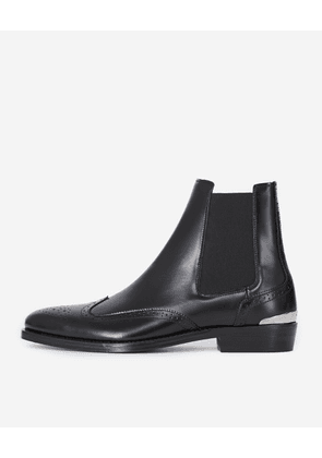 The Kooples - Black Chelsea boots with broguing - MEN