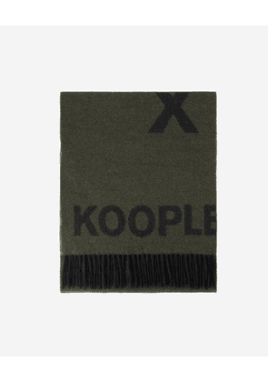 The Kooples - Khaki scarf in wool with black logo - MEN