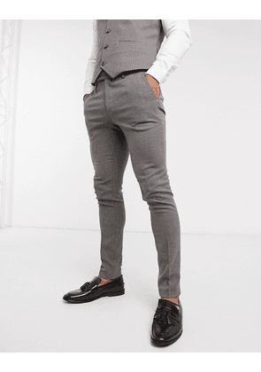 ASOS DESIGN wedding super skinny suit trousers in charcoal micro texture-Grey