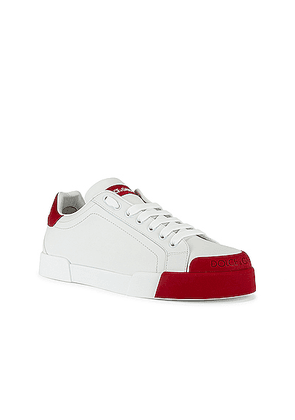 Dolce & Gabbana Low Top Sneaker in White & Red - White,Red. Size 43 (also in 40,41,42,44,45).