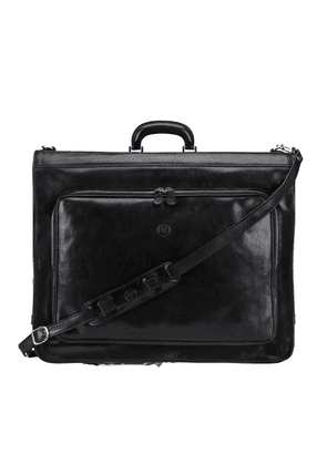 Maxwell Scott Bags Mens Quality Black Italian Leather Suit Garment Carrier