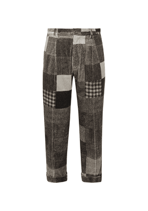 Beams Plus - Cropped Tapered Patchwork Printed Cotton-Blend Corduroy Trousers - Men - Gray
