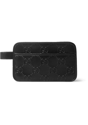 GUCCI - Logo-Embossed Perforated Leather Wash Bag - Men - Black