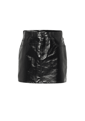 Coated cotton miniskirt