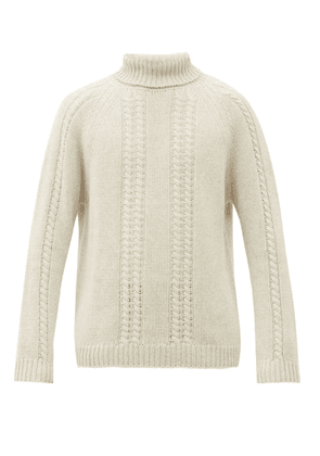 The Gigi - Roll-neck Cable-knit Wool Sweater - Mens - Beige