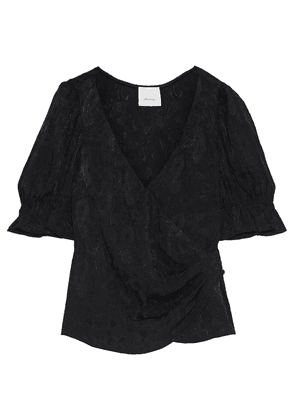 Cinq À Sept Theo Gathered Jacquard Wrap Blouse Woman Black Size S