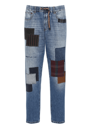 Cotton Denim Straight Jeans W/patches
