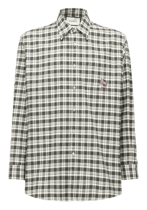 Embroidered Patch Check Cotton Shirt