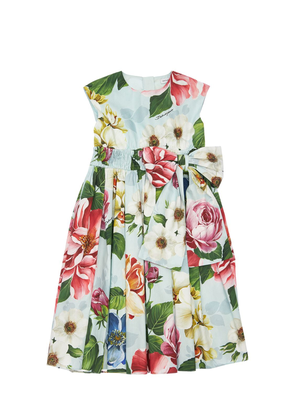 Flower Print Cotton Poplin Dress W/ Bow