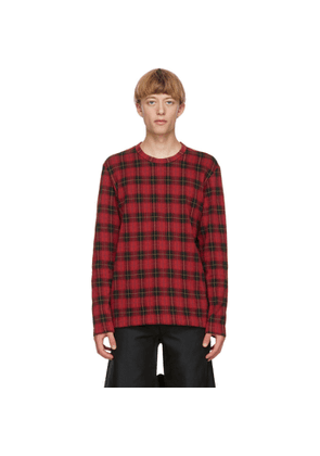 Comme des Garcons Homme Plus Red Jacquard Check Long Sleeve T-Shirt