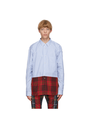 Comme des Garcons Homme Plus White and Blue Cotton Broadcloth Shirt