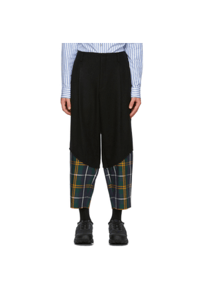 Comme des Garcons Homme Plus Black and Green Worsted Wool Trousers