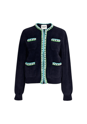 Wirl Pearl Knitted Bomber Jacket - Royal Navy