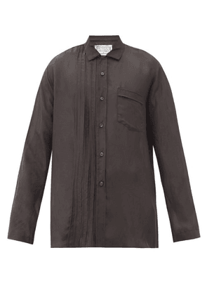By Walid - Tristan Pintuck-pleat Washed-silk Shirt - Mens - Black