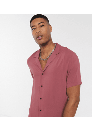 ASOS DESIGN Tall relaxed fit viscose shirt in pink with deep revere