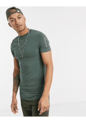 ASOS DESIGN skinny t-shirt with curved hem and MA1 pocket in khaki-Green