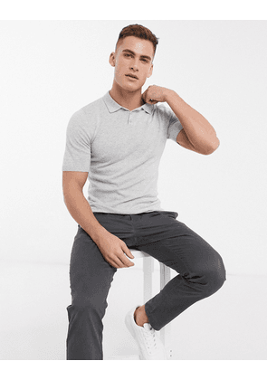 ASOS DESIGN knitted muscle fit polo neck t-shirt in light grey
