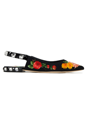Dolce & Gabbana Crystal-embellished Floral-print Cady Point-toe Flats Woman Black Size 35