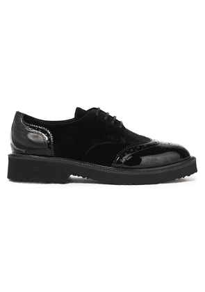 Giuseppe Zanotti Hilary Perforated Patent-leather And Velvet Brogues Woman Black Size 37