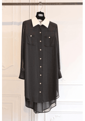Edward Achour Black Dress with Off White Collar and Gold Buttons 437034/1722D