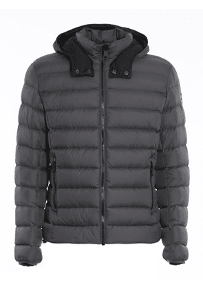 SEMI-MATTE PUFFER JACKET WITH REMOVABLE HOOD IN GREY