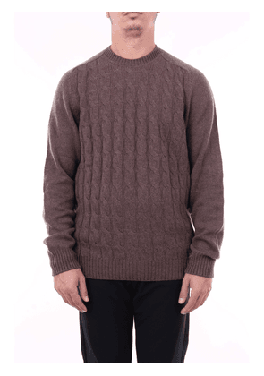 Beard round neck sweater in brown color with long sleeves
