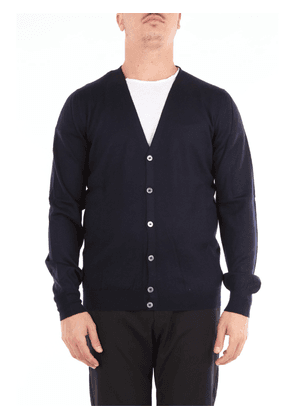 Blue beard cardigan with long sleeves and v-neck