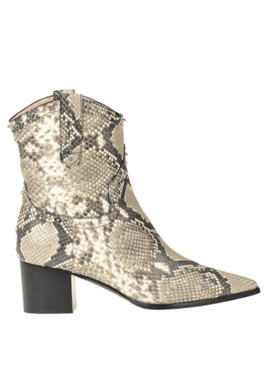 Reptile print texan ankle boots