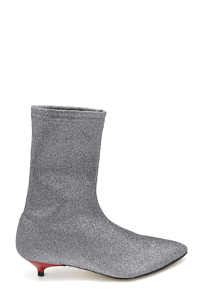 GIA COUTURE WOMEN'S MCBI37252 SILVER FABRIC ANKLE BOOTS