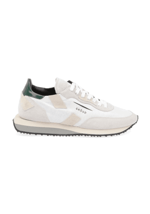 GHOUD MEN'S NS03WHITEGREEN WHITE SUEDE SNEAKERS