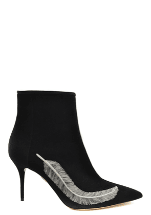 CHARLOTTE OLYMPIA WOMEN'S MCBI39475 BLACK SUEDE ANKLE BOOTS