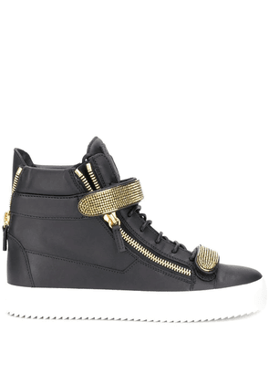 GIUSEPPE ZANOTTI DESIGN MEN'S RM90024002 BLACK LEATHER HI TOP SNEAKERS