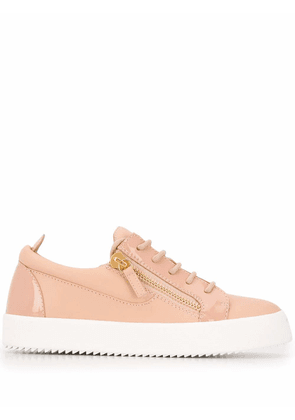 GIUSEPPE ZANOTTI DESIGN WOMEN'S RW70001116 PINK LEATHER SNEAKERS