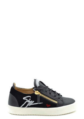 GIUSEPPE ZANOTTI DESIGN WOMEN'S MCBI37295 BLACK LEATHER SNEAKERS