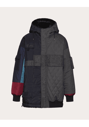 Valentino Uomo Hooded Pea Coat With Contrasting Fabrics And Colors Man Gray/multicolor Silk 100% 44