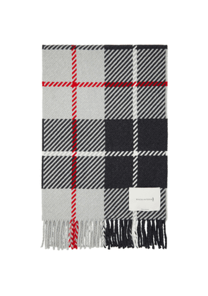 Mackintosh Grey Wool and Cashmere Check Scarf