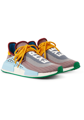 adidas Consortium - Pharrell Williams NMD Hu Leather and Rubber-Trimmed Primeknit Slip-On Sneakers - Men - Gray