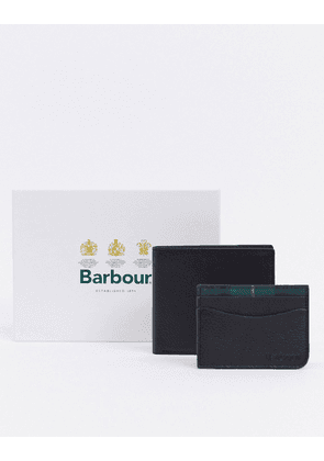 Barbour leather wallet and cardholder with tartan trim gift set in black