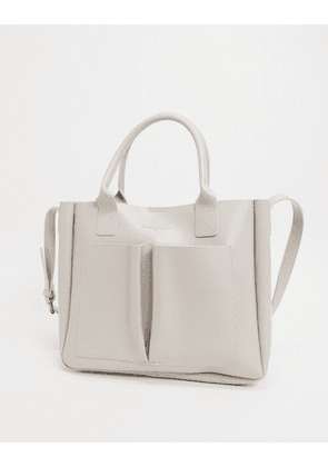 Claudia Canova double pocket tote bag in natural-Beige