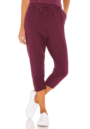 Frank & Eileen Cropped Sweatpant in Wine. Size XS.