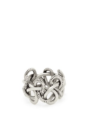 Saint Laurent - Knotted Rope Ring - Womens - Silver