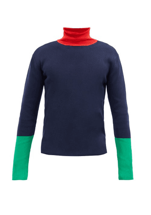 Wales Bonner - Goto Colour-block Roll-neck Ribbed Sweater - Mens - Navy