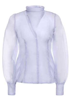 Beaufille Pussy-bow Layered Silk-organza Blouse Woman Lilac Size 10