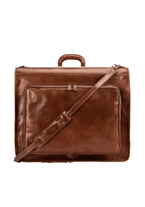 Maxwell Scott Bags Premium Quality Tan Brown Leather Garment Carrier For Men