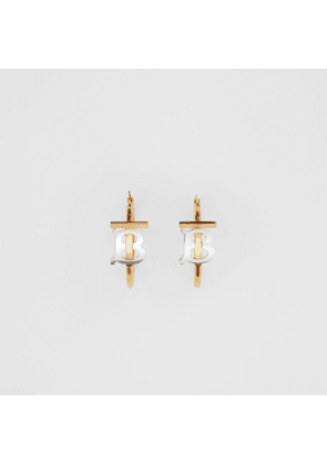 Burberry Gold and Palladium-plated Monogram Motif Earrings, Light Gold