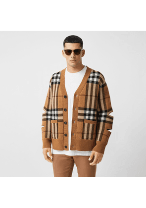 Burberry Cut-out Sleeve Check Wool Cashmere Cardigan, Brown