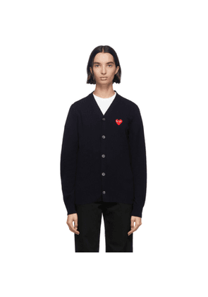 Comme des Garcons Play Navy and Red Wool Mens Fit Heart Patch V-Neck Cardigan