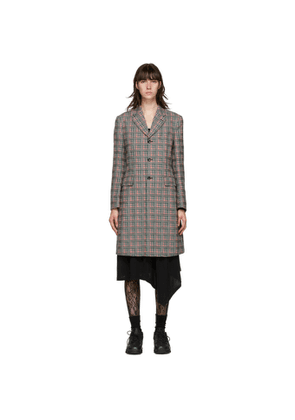 Comme des Garcons Homme Plus Pink and Green Check Back Cut-Out Coat